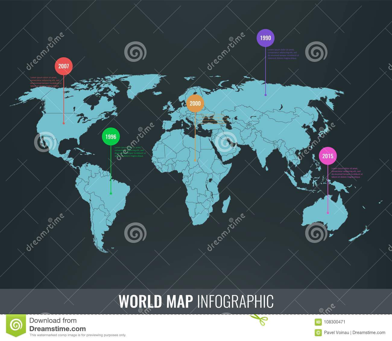 World Map Infographic Template All Country Are Selectable Vector