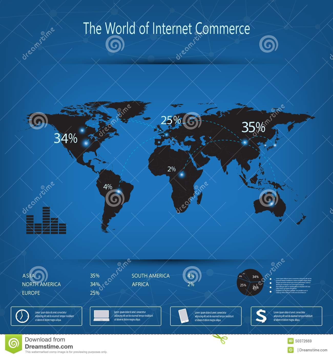 World map infographic template on blue background can be used for world map infographic template on blue background can be used for workflow layout presentation web design gumiabroncs Choice Image