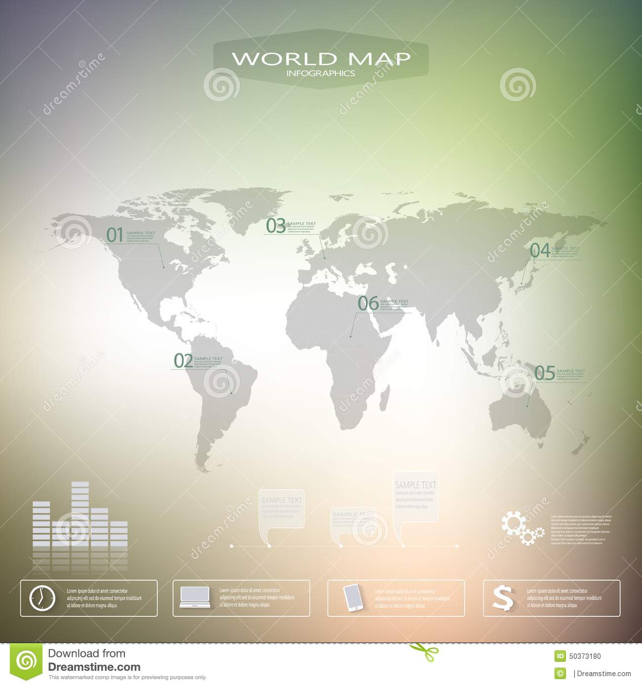 World map background design stock illustration illustration of world map infographic template with blurred background can be used for workflow layout presentation gumiabroncs Image collections