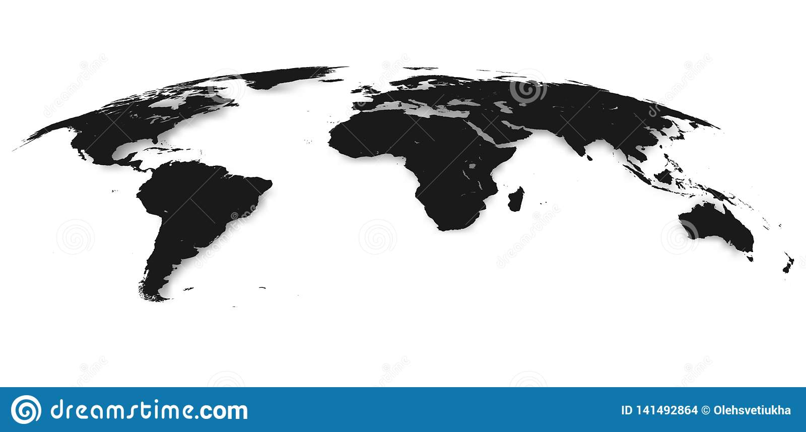 World Map Isolated On White Background In Gray Color Vector
