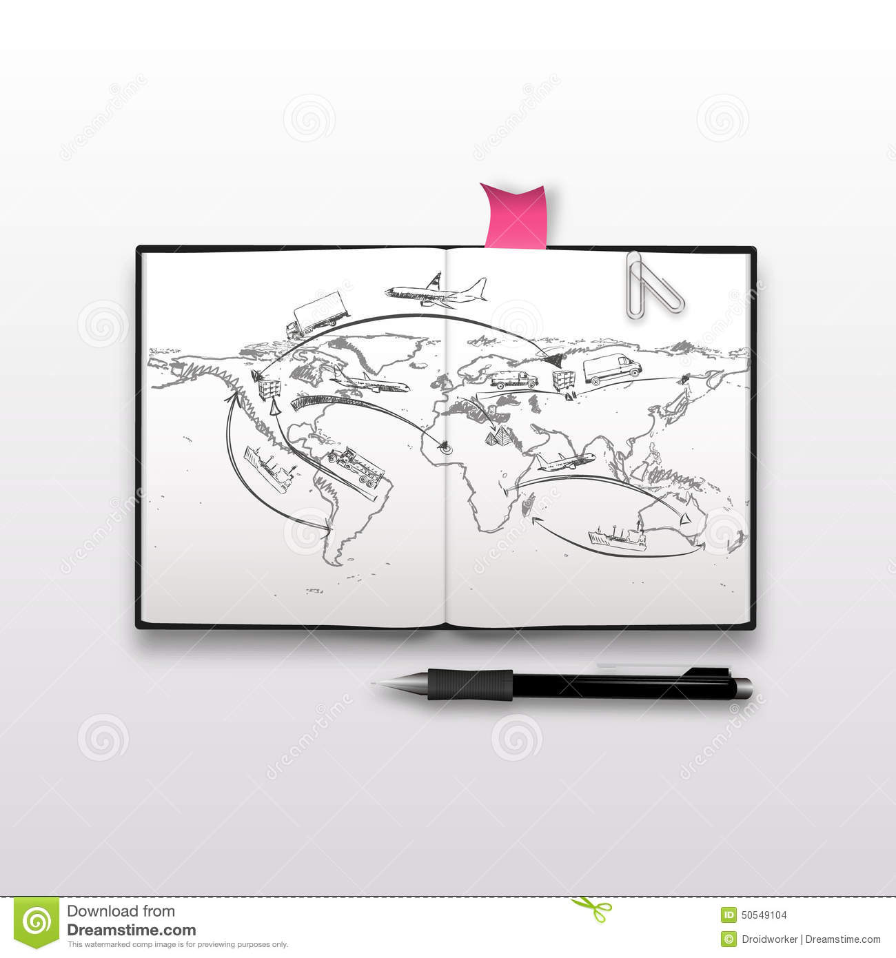 World map and logistics sketch on notebook stock vector world map and logistics sketch on notebook royalty free vector download gumiabroncs Images