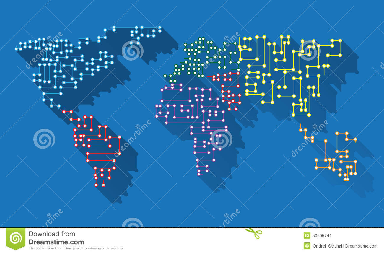 World Map Download For Computer. World map long shadow microchip Map Long Shadow Microchip Stock Illustration