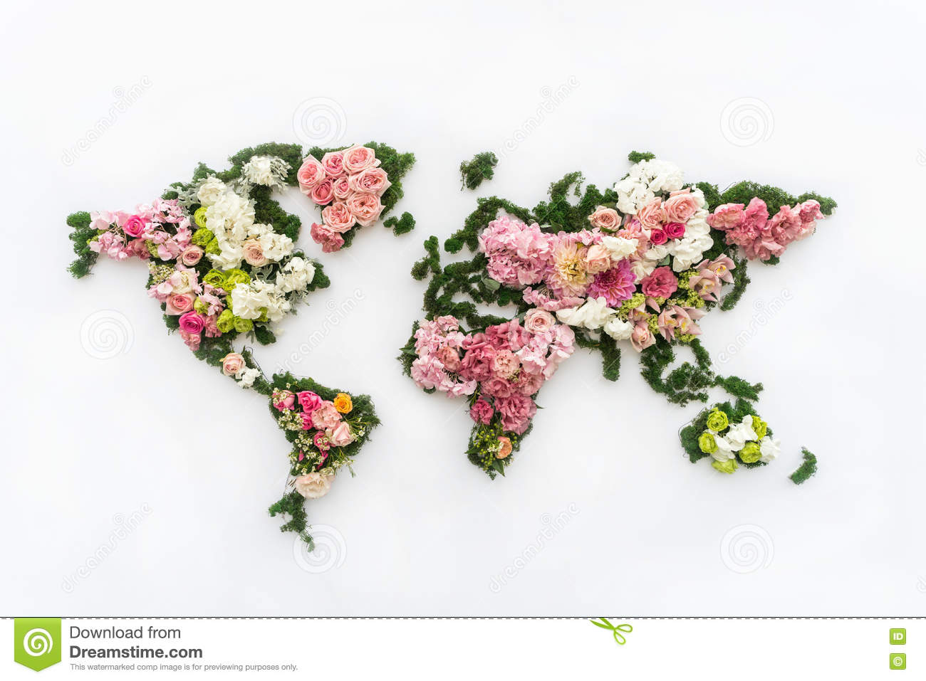 World map made of flowers stock photo Image of fresh