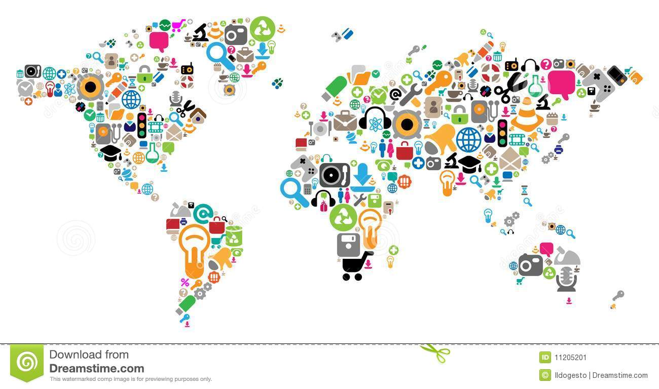 World Map Made Of Icons Stock Vector. Illustration Of Global