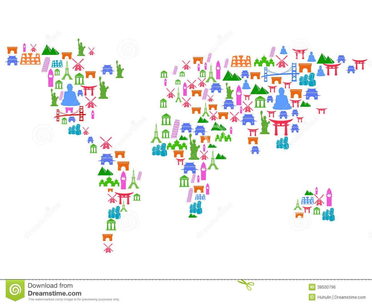 World map made of landmark icons stock vector illustration of world map made of landmark icons gumiabroncs Images