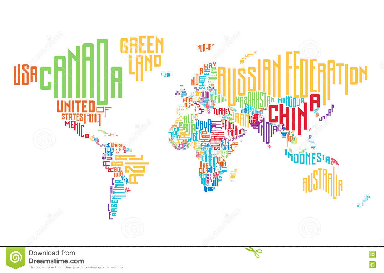 Vector World Map With Country Names In Typography Stock Vector