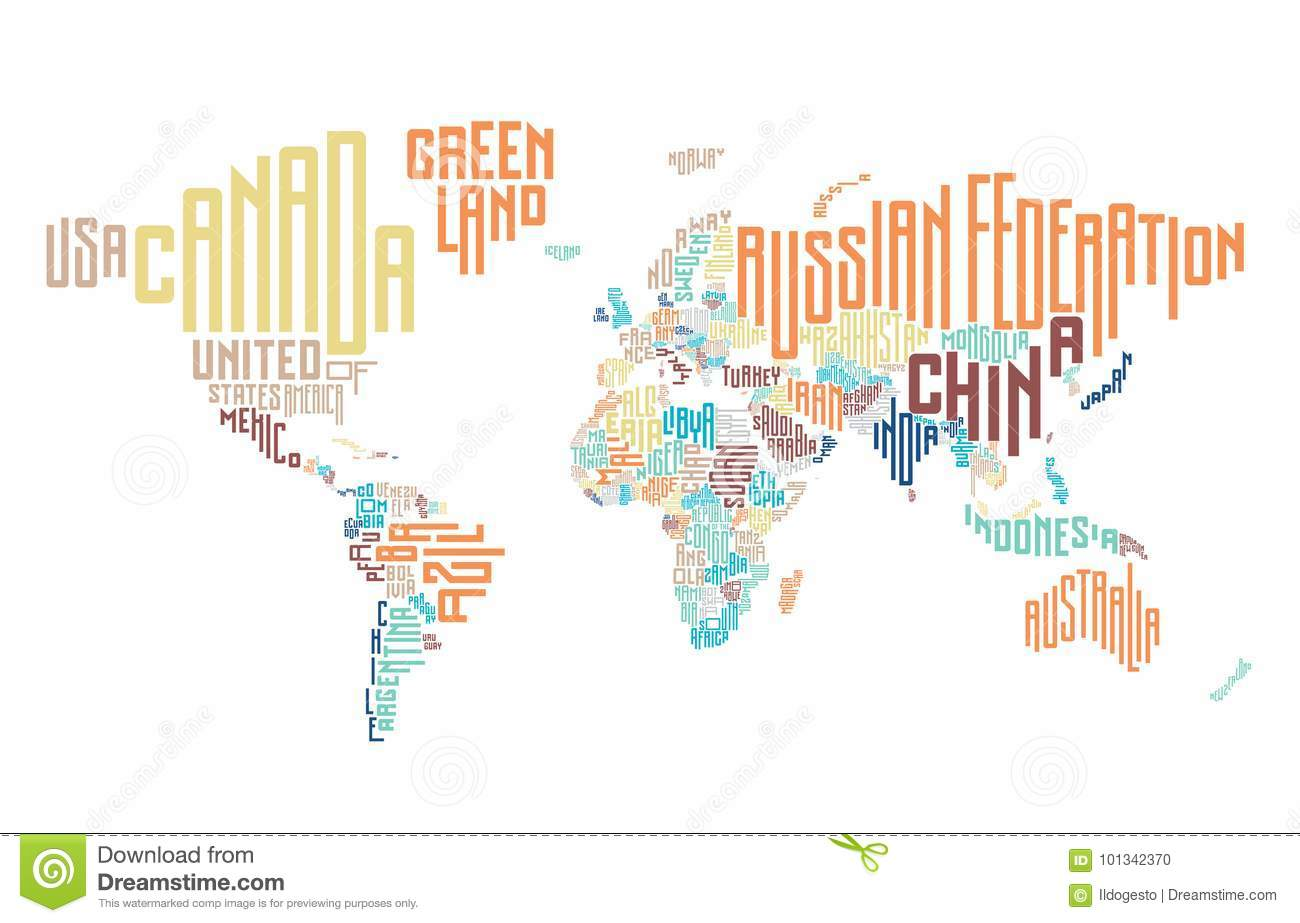World map made of typographic country names stock vector world map made of typographic country names gumiabroncs Choice Image
