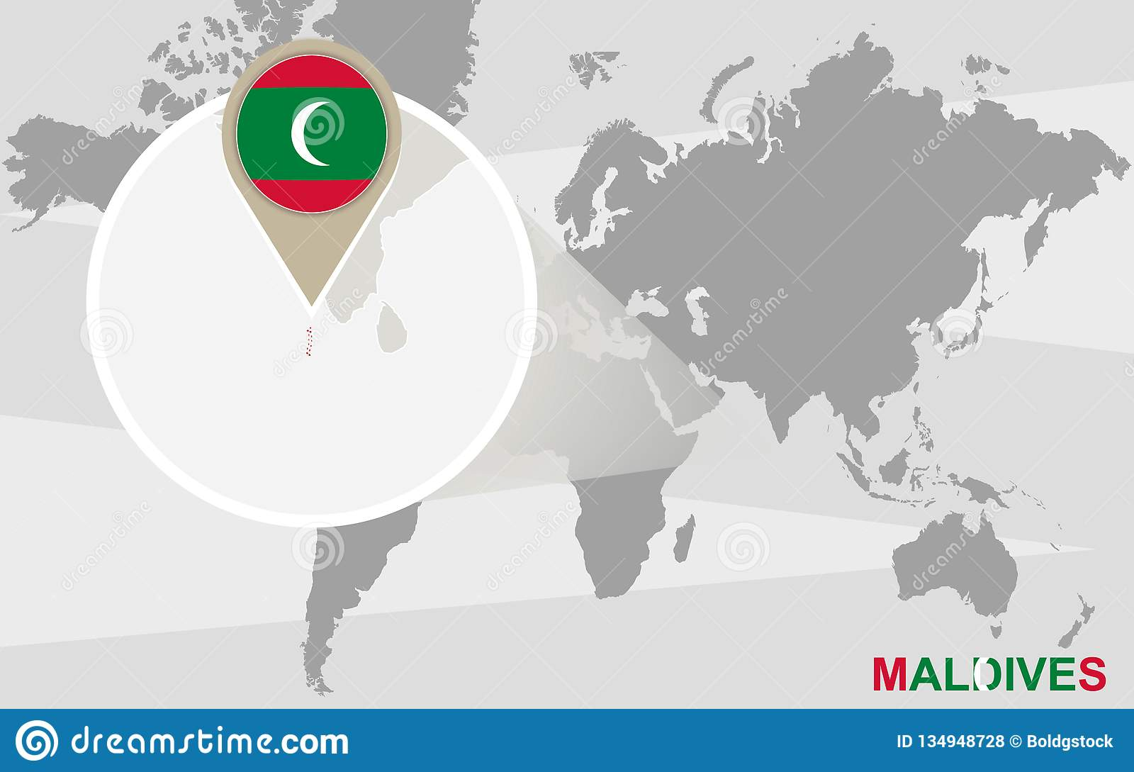 Maldives On A World Map.World Map With Magnified Maldives Stock Vector Illustration Of