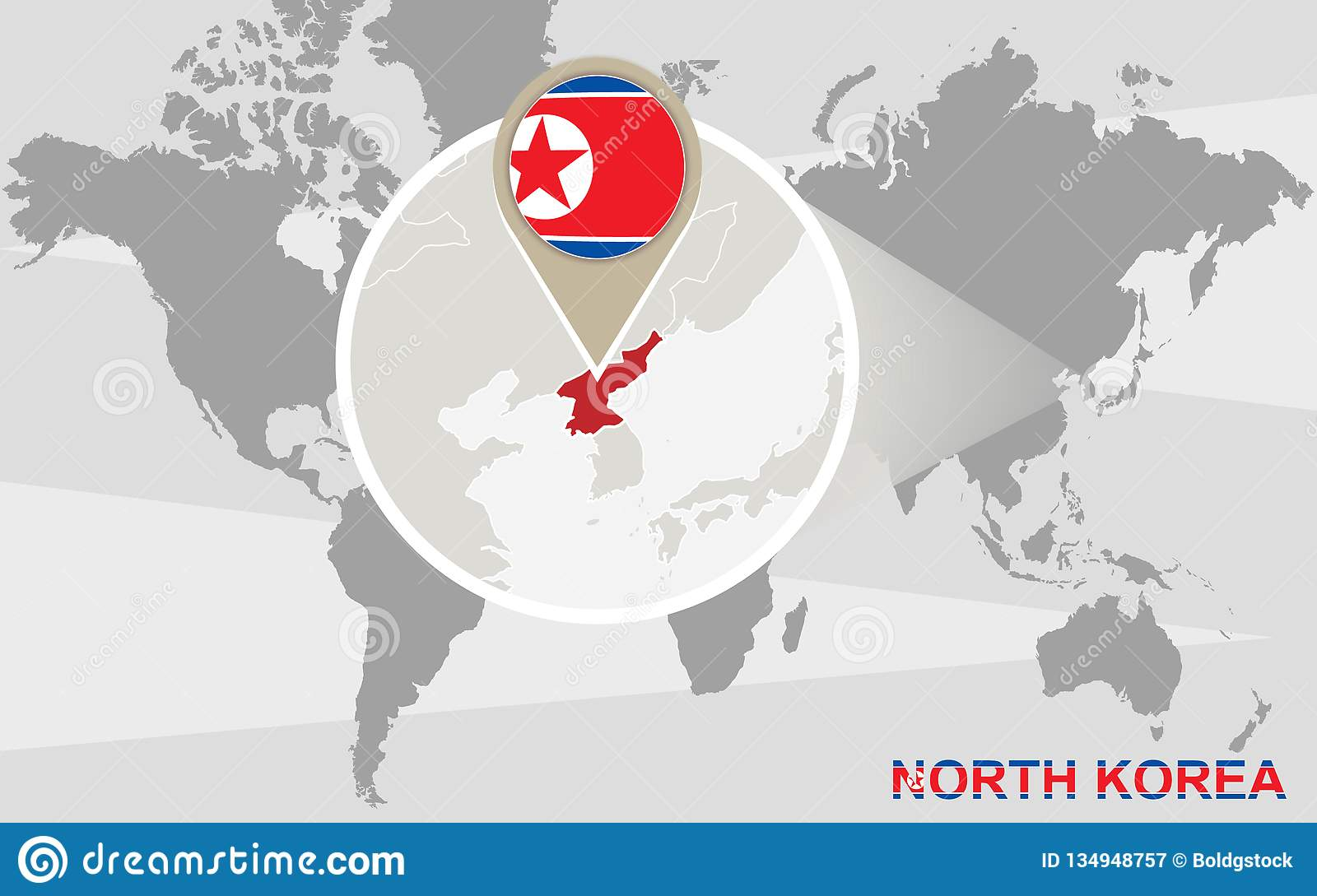 World Map With Magnified North Korea Stock Vector ...