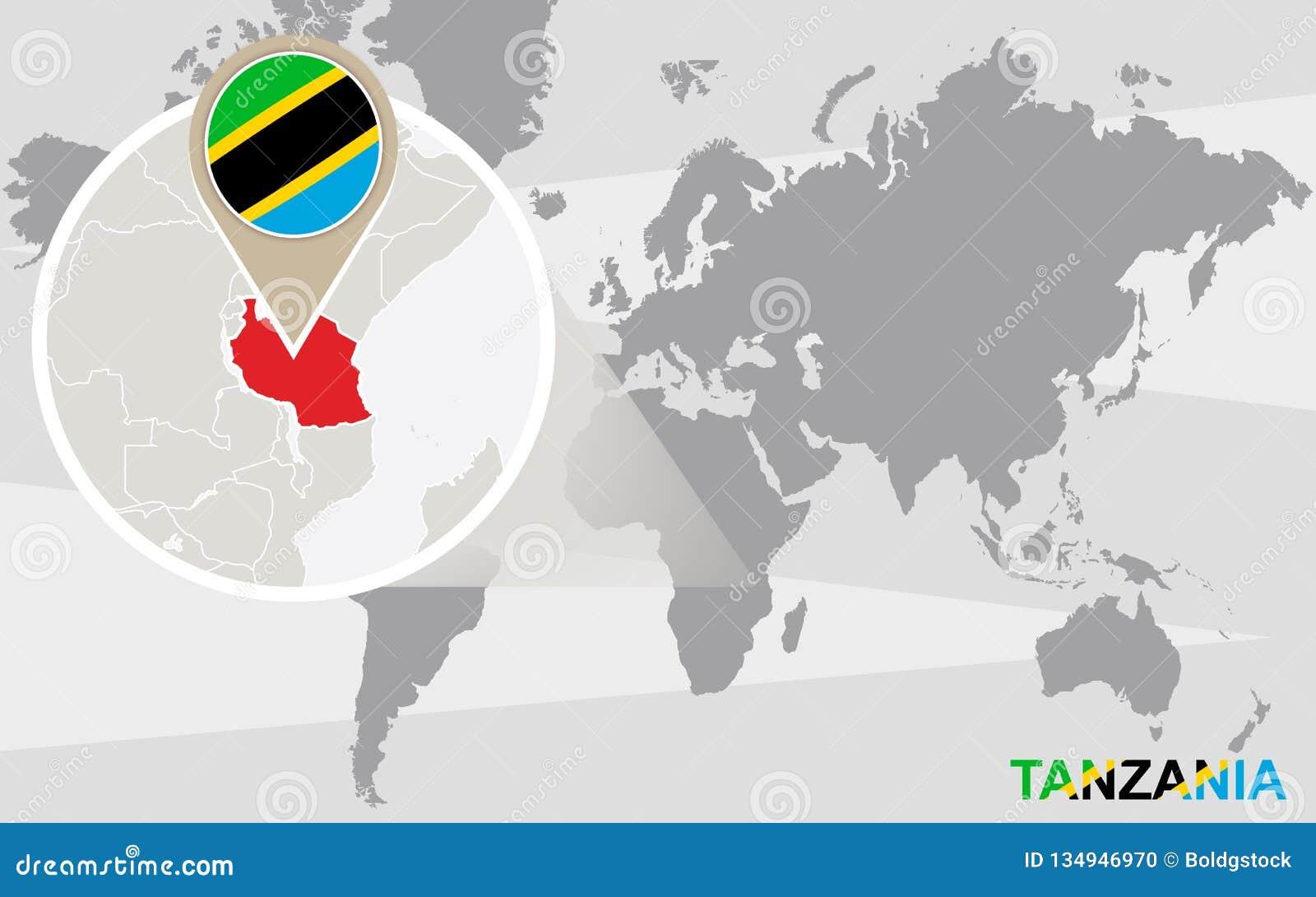 Tanzania Africa World Map.World Map With Magnified Tanzania Stock Vector