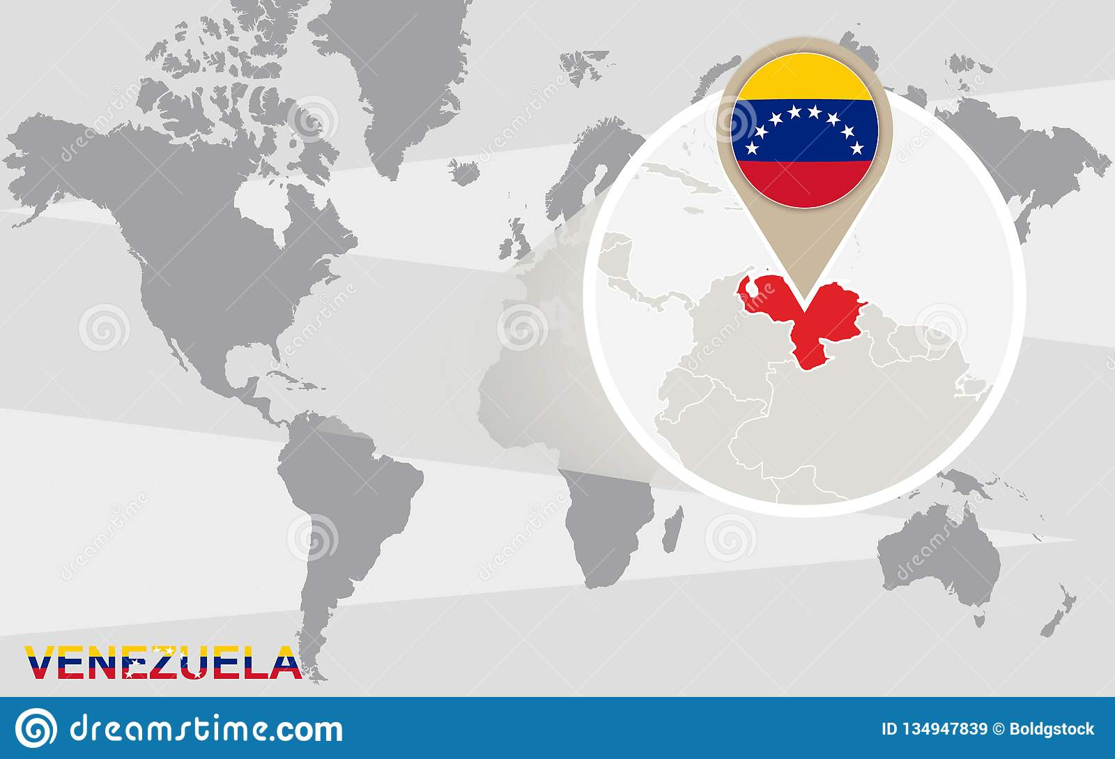 World Map With Magnified Venezuela Stock Vector ...