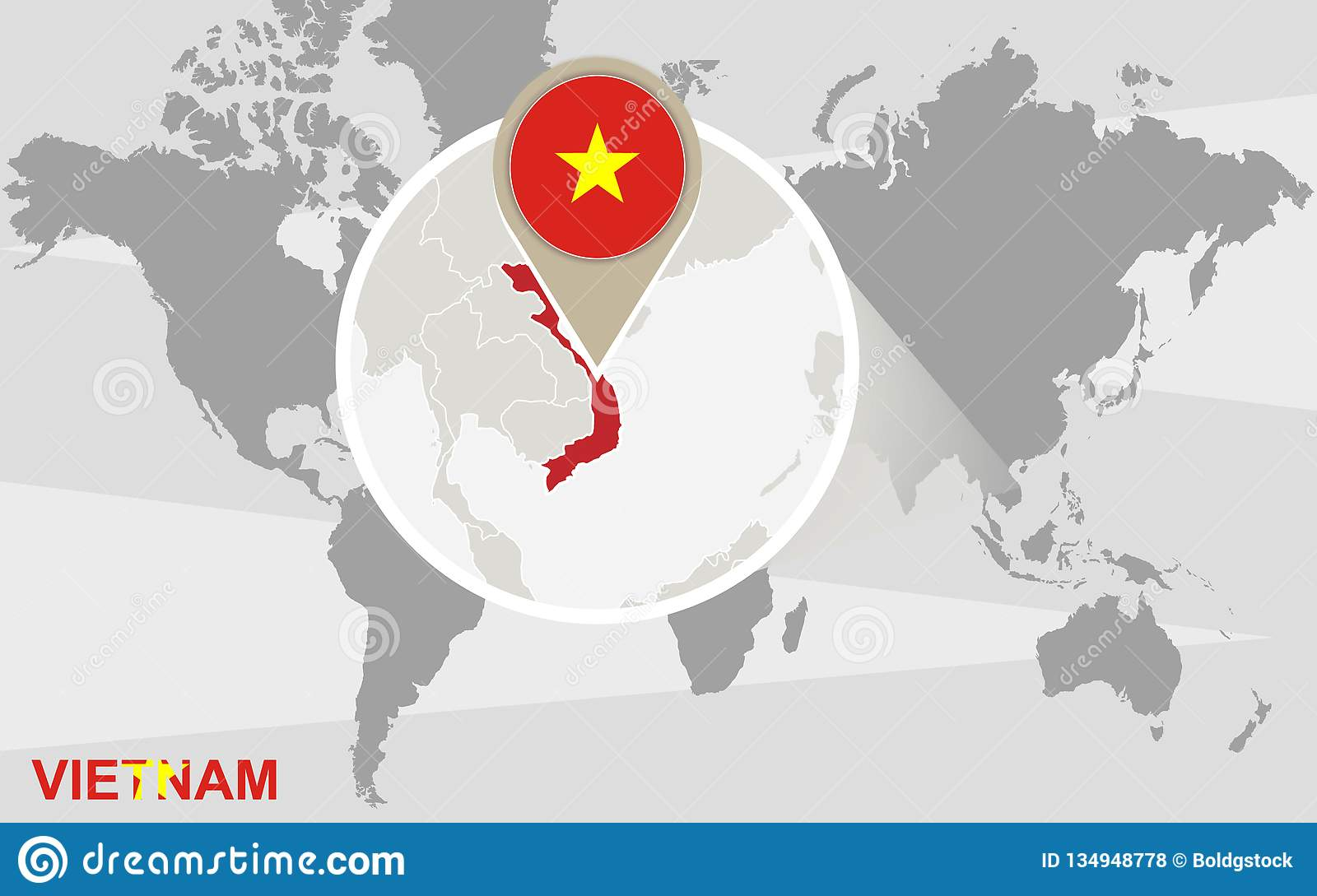 World Map With Magnified Vietnam Stock Vector - Illustration ...