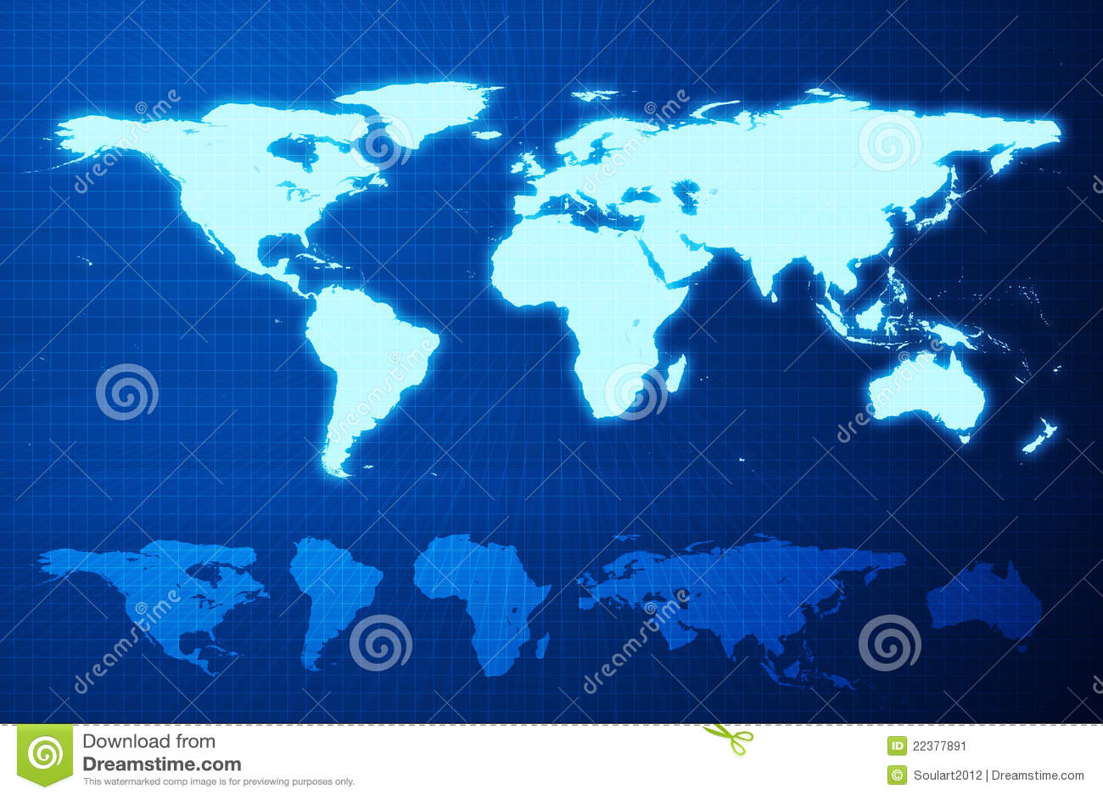 World map and mainland