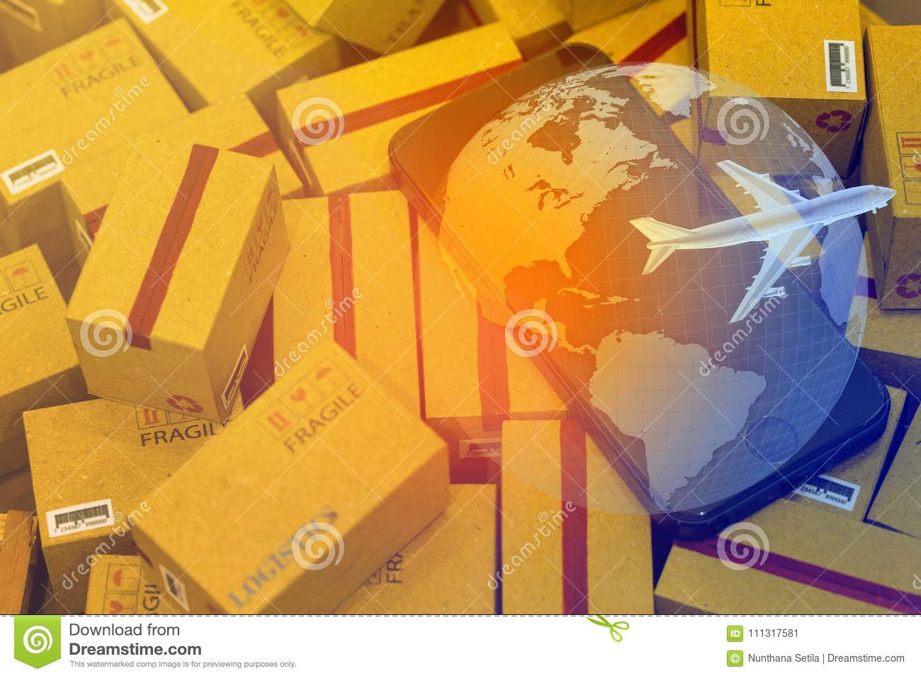 World map with mobile phone on pile of cardboard boxes concept royalty free stock photo download world map with mobile phone on pile of cardboard boxes concept stock image publicscrutiny Choice Image