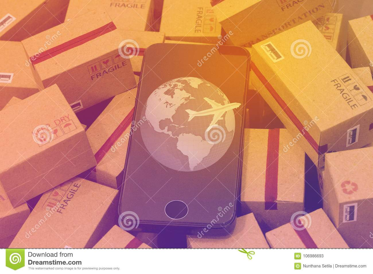 World map with mobile phone on pile of cardboard boxes an idea royalty free stock photo download world map with mobile phone on pile of cardboard boxes an idea stock image publicscrutiny Choice Image