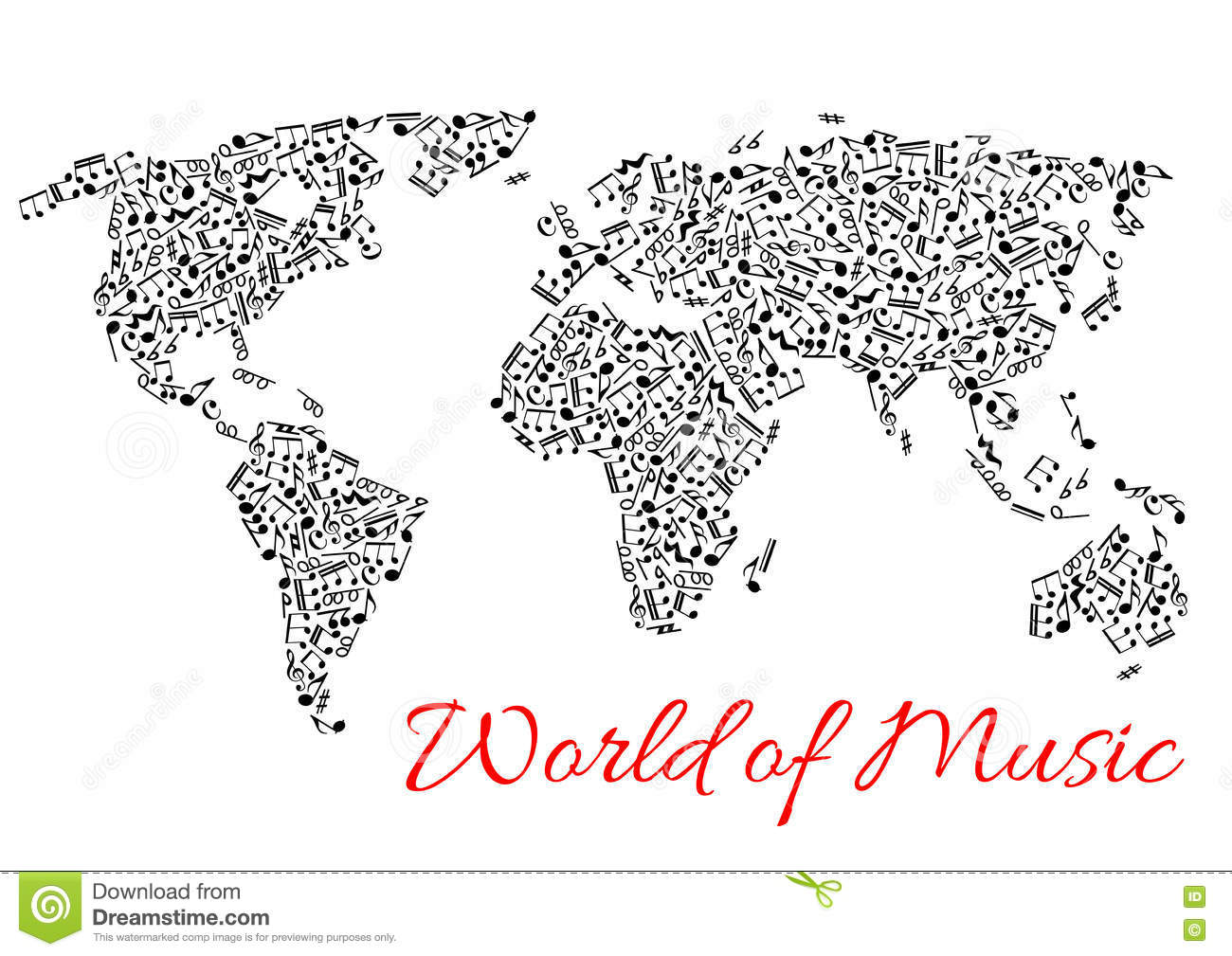 World map of muisc and musical notes stock vector illustration of download comp gumiabroncs Images