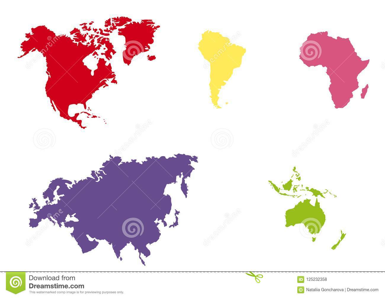 World Map Multi Colored Continents Vector Stock Vector