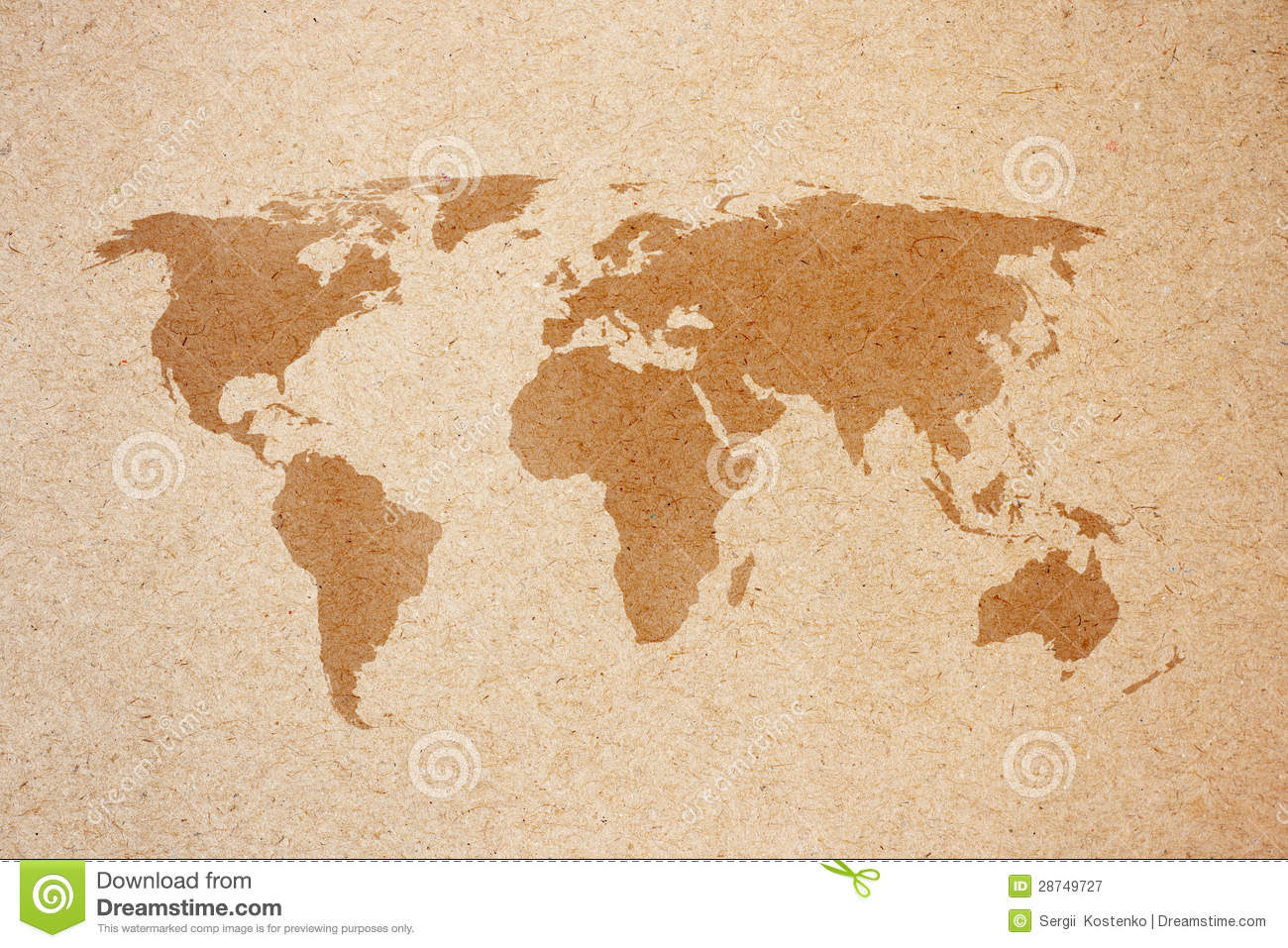 World map on natural brown recycled paper stock image image of world map on natural brown recycled paper gumiabroncs Gallery