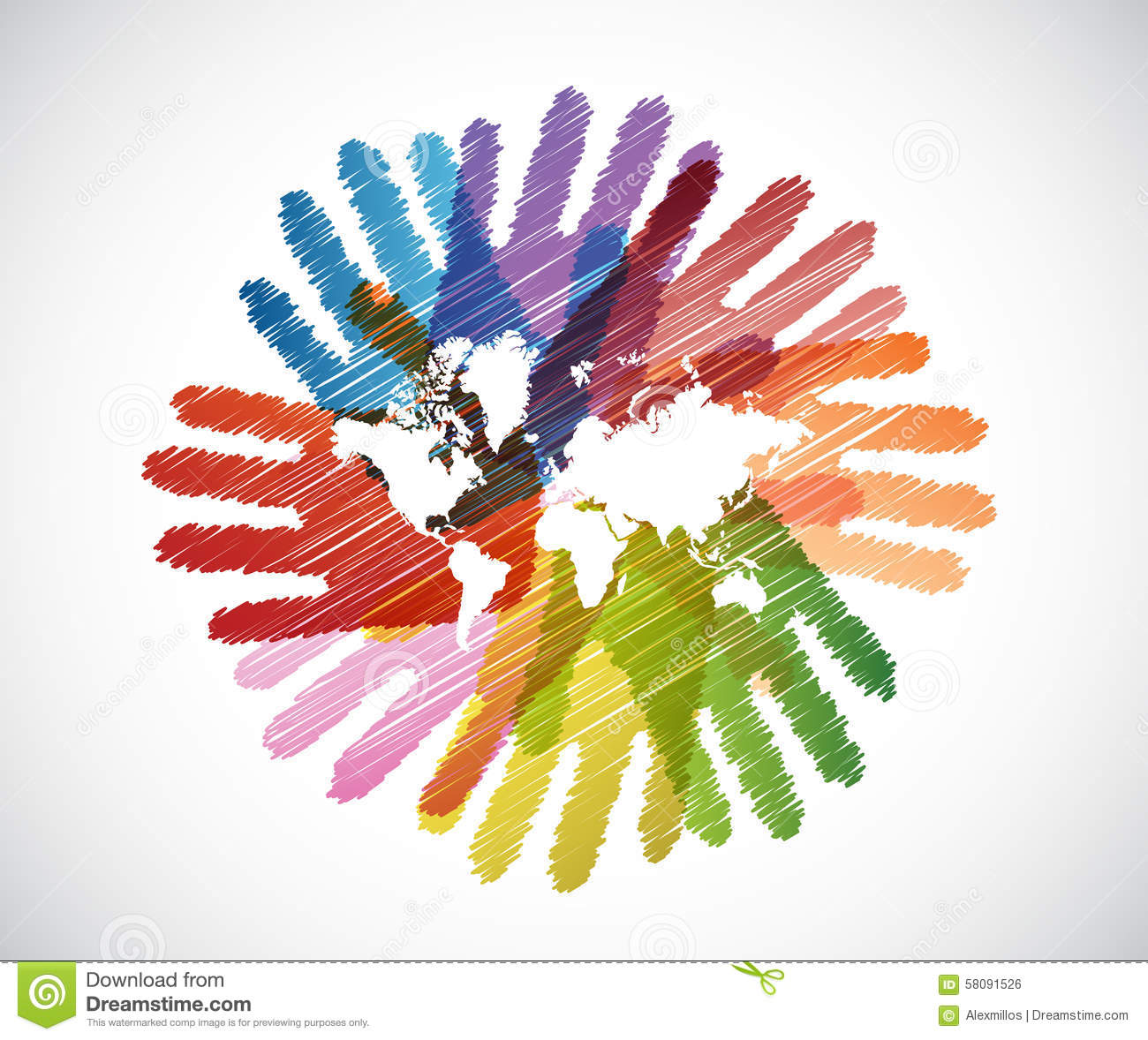 World Map Over Diversity Hands Circle Stock Illustration