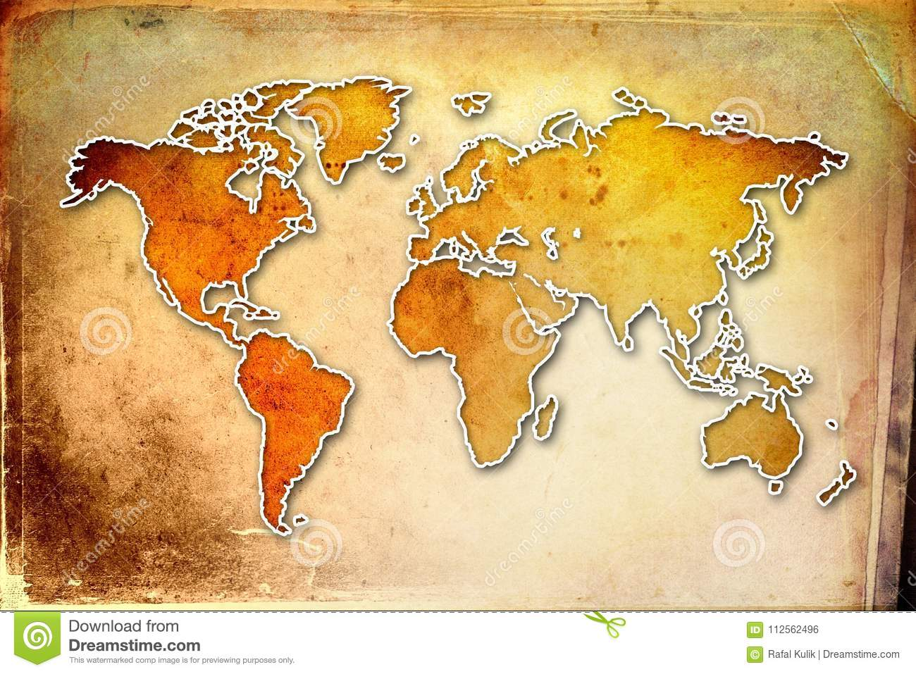 World Map Paint Design Art Illustration Stock Illustration - Authentic world map