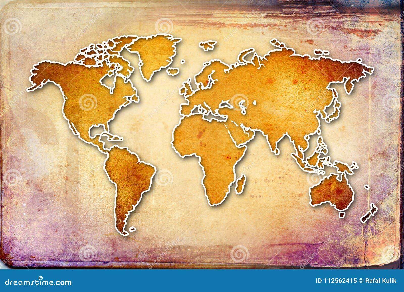 Authentic World Map.World Map Paint Design Art Illustration Stock Illustration