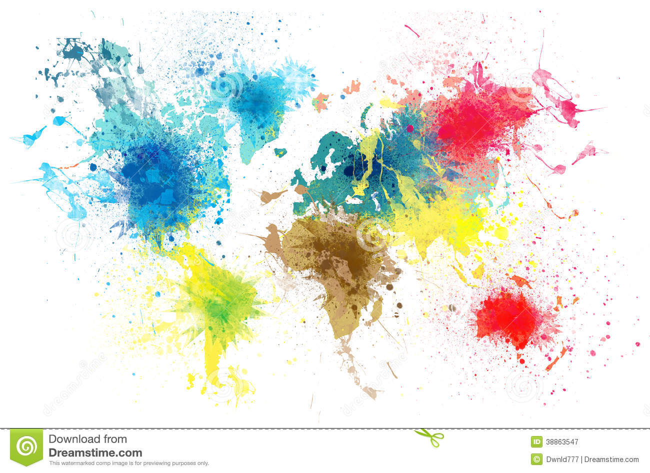 World map with paint splashes stock illustration illustration of world map with paint splashes gumiabroncs Gallery