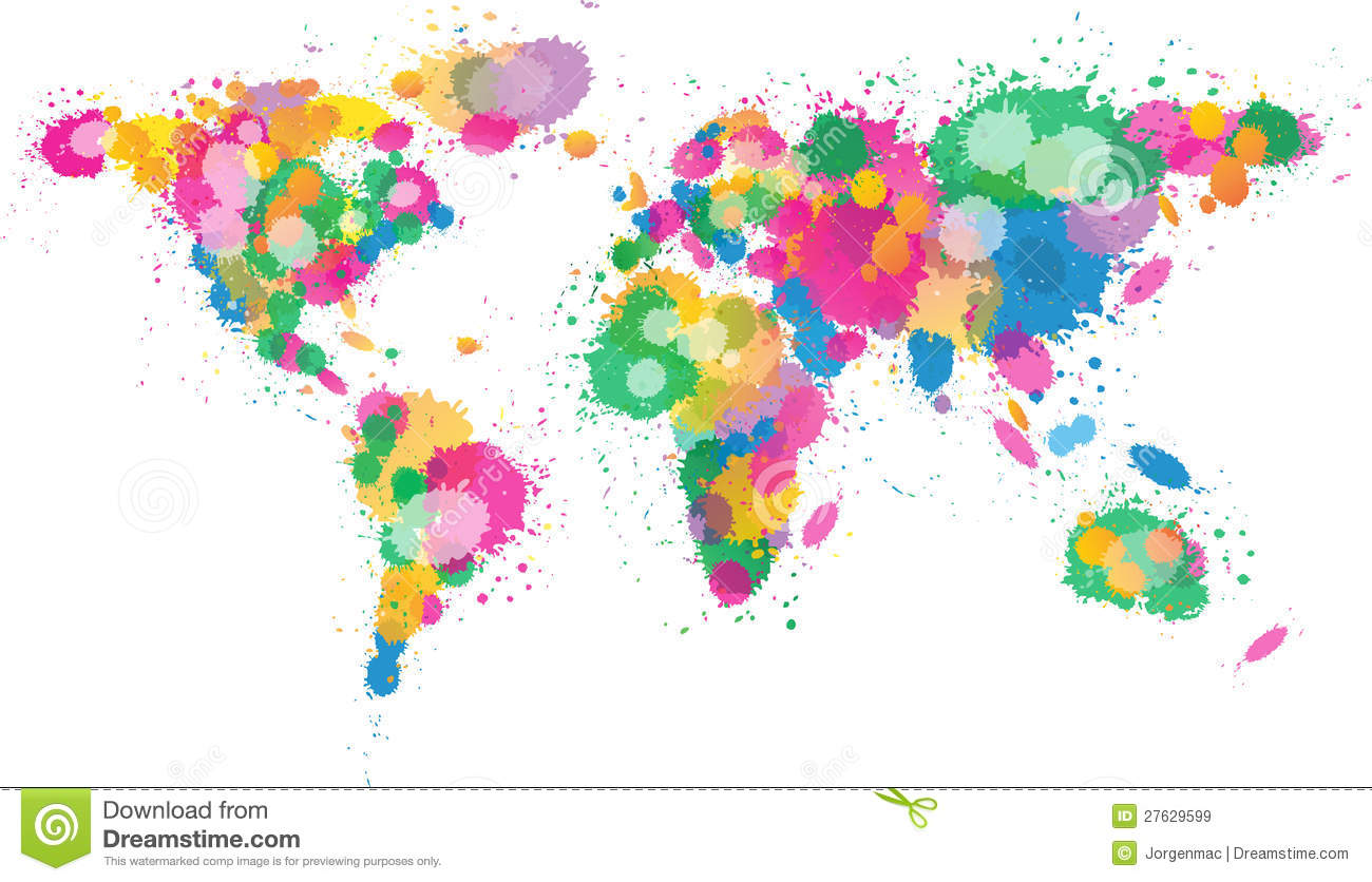 Colored world map triangle design stock vector illustration of world map paint splattered royalty free stock images gumiabroncs Gallery