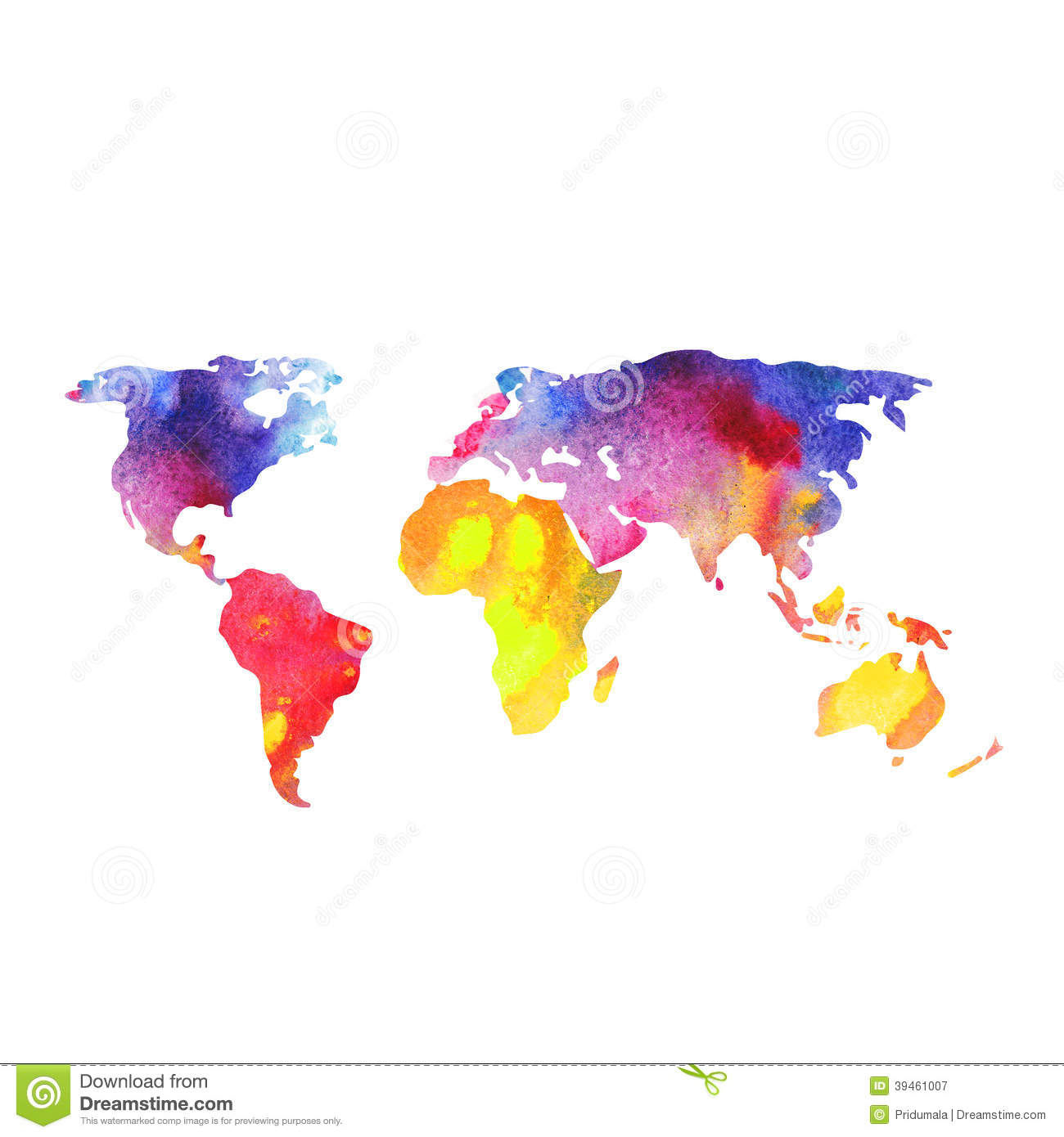 World: World Map Painted With Watercolors, Painted World Map On