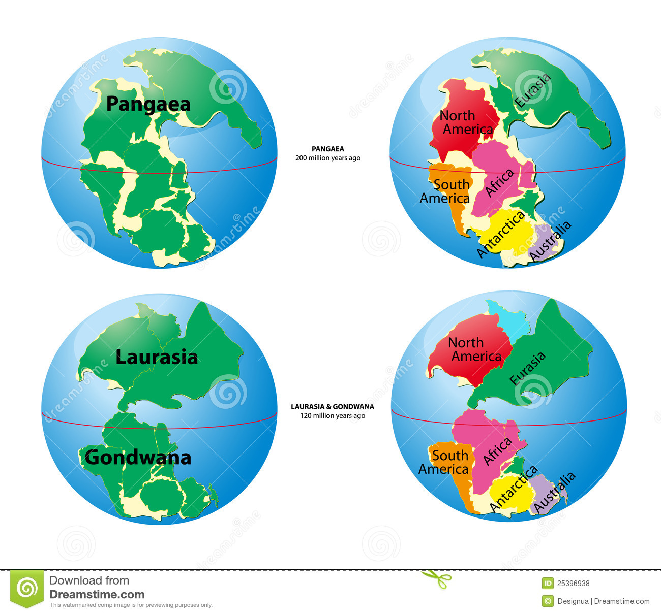 World map of Pangaea - 200 million years ago, Laurasia, Gondwana - 120 ...