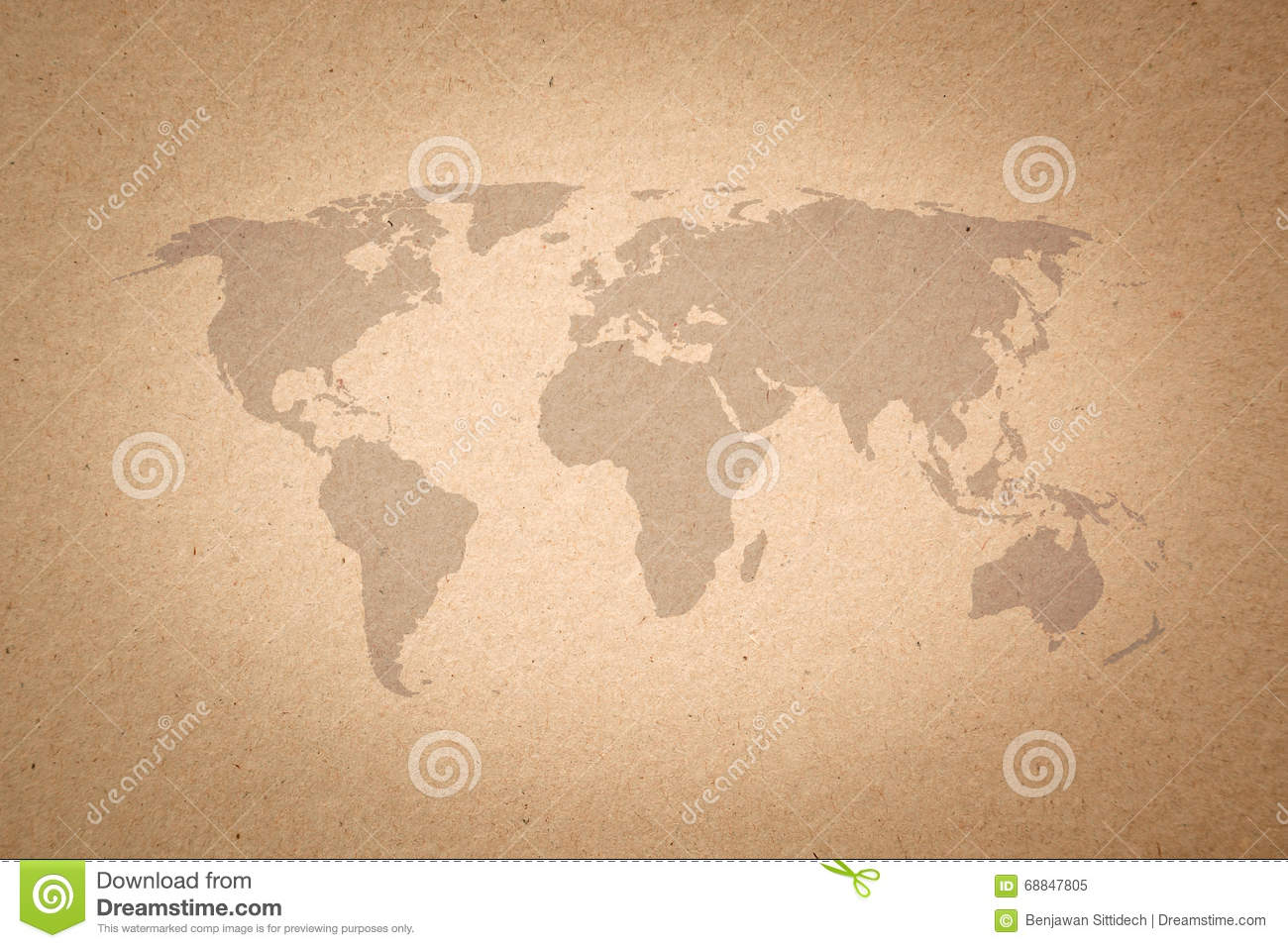 World Map On Paper Texture Background Stock Illustration