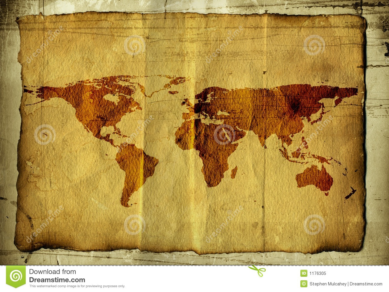 world map on parchment royalty free stock photo image 1176305. Black Bedroom Furniture Sets. Home Design Ideas