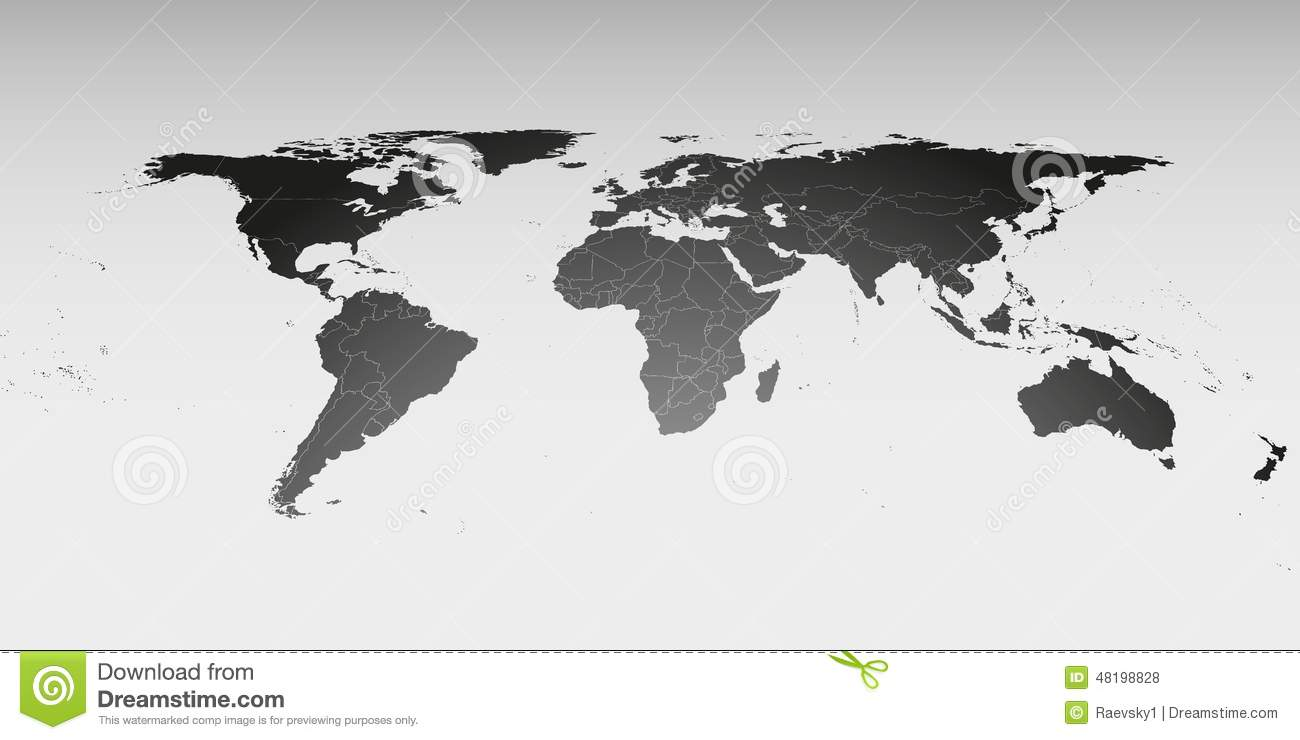 world map in perspective vector template for stock vector