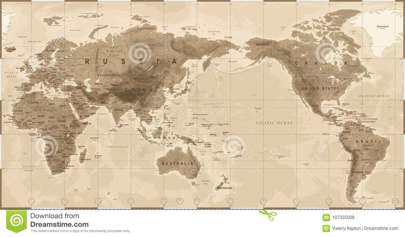World map physical vintage asia in center china korea japan download world map physical vintage asia in center china korea japan stock gumiabroncs Gallery
