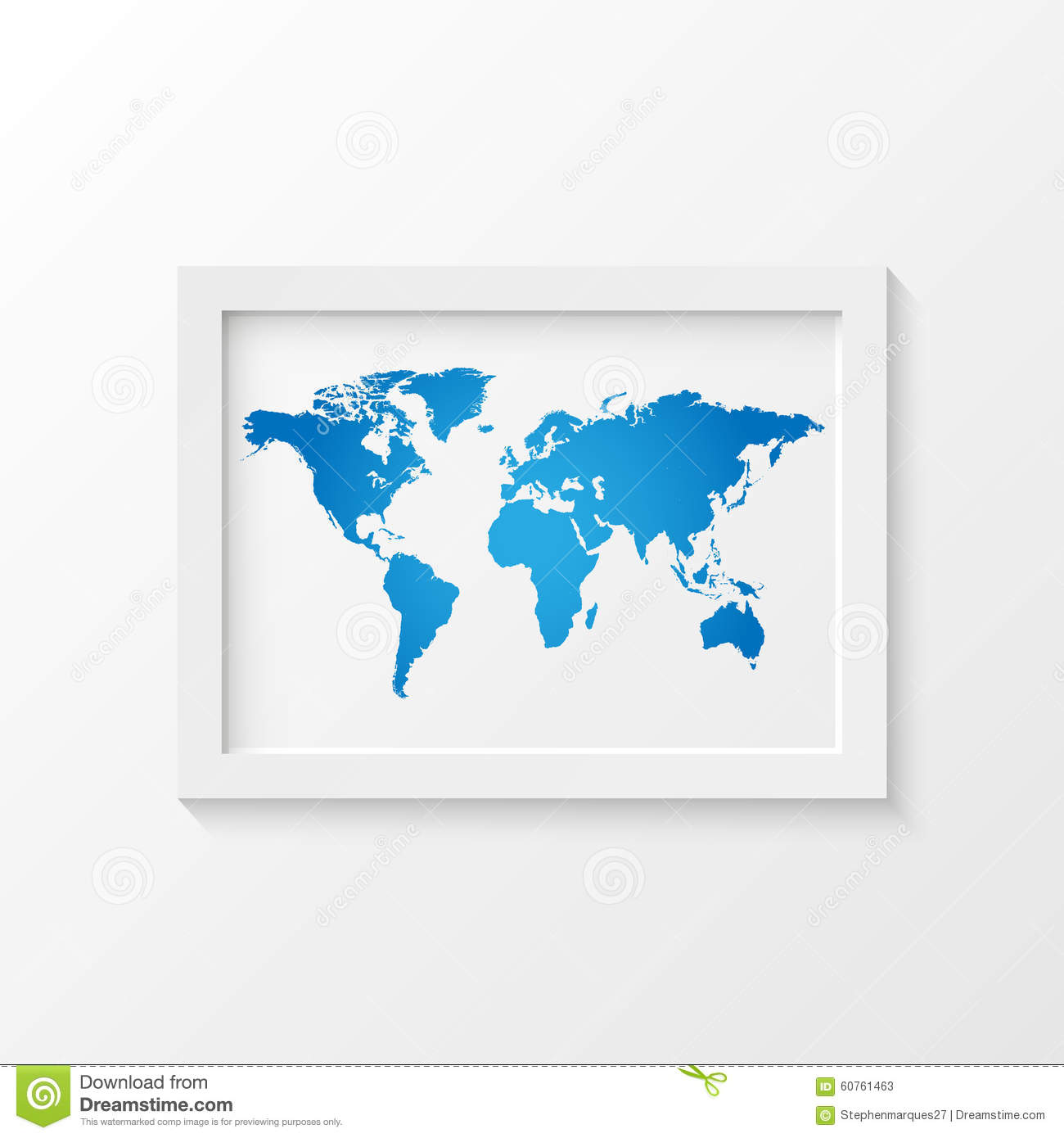 world map picture frame illustration stock vector image 60761463. Black Bedroom Furniture Sets. Home Design Ideas