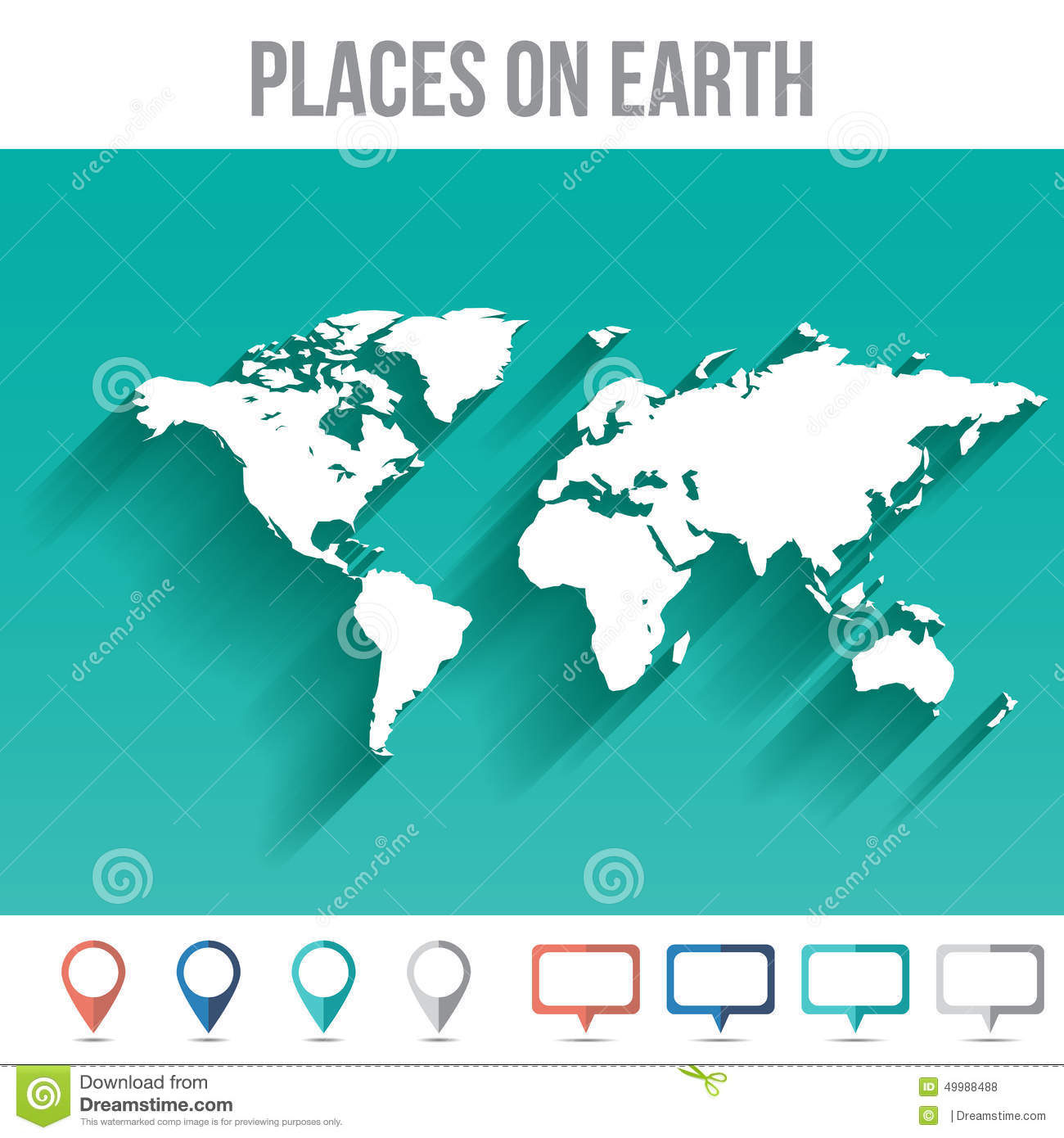 World map with pins flat design vector stock vector illustration world map with pins flat design vector gumiabroncs Gallery