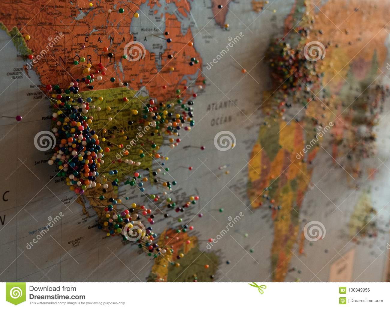 World map with pins stock photo image of north pins 100349956 download comp gumiabroncs Images