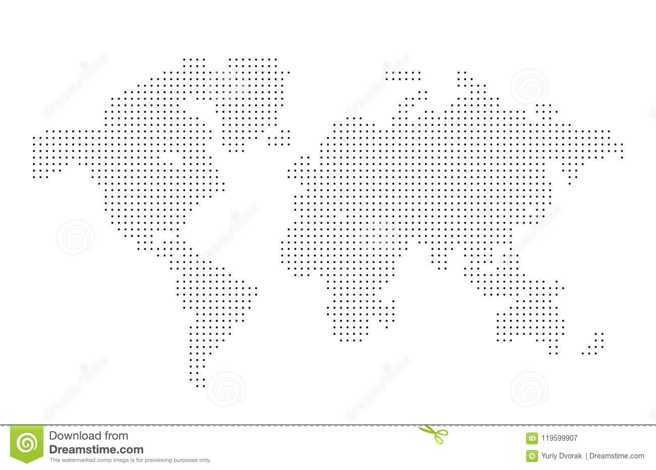World Map Point Dots Composition, Representing The Global On White on
