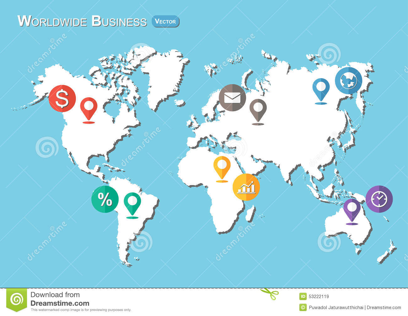 World map with pointers and business icon flat design stock download comp gumiabroncs Gallery