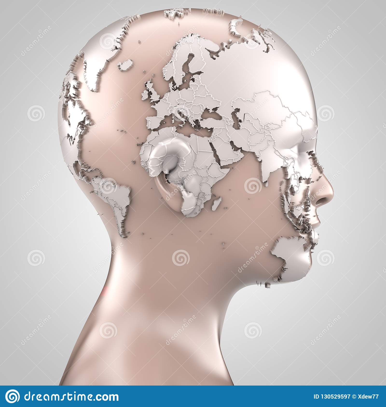 World Map Projected On Face Stock Illustration Illustration Of