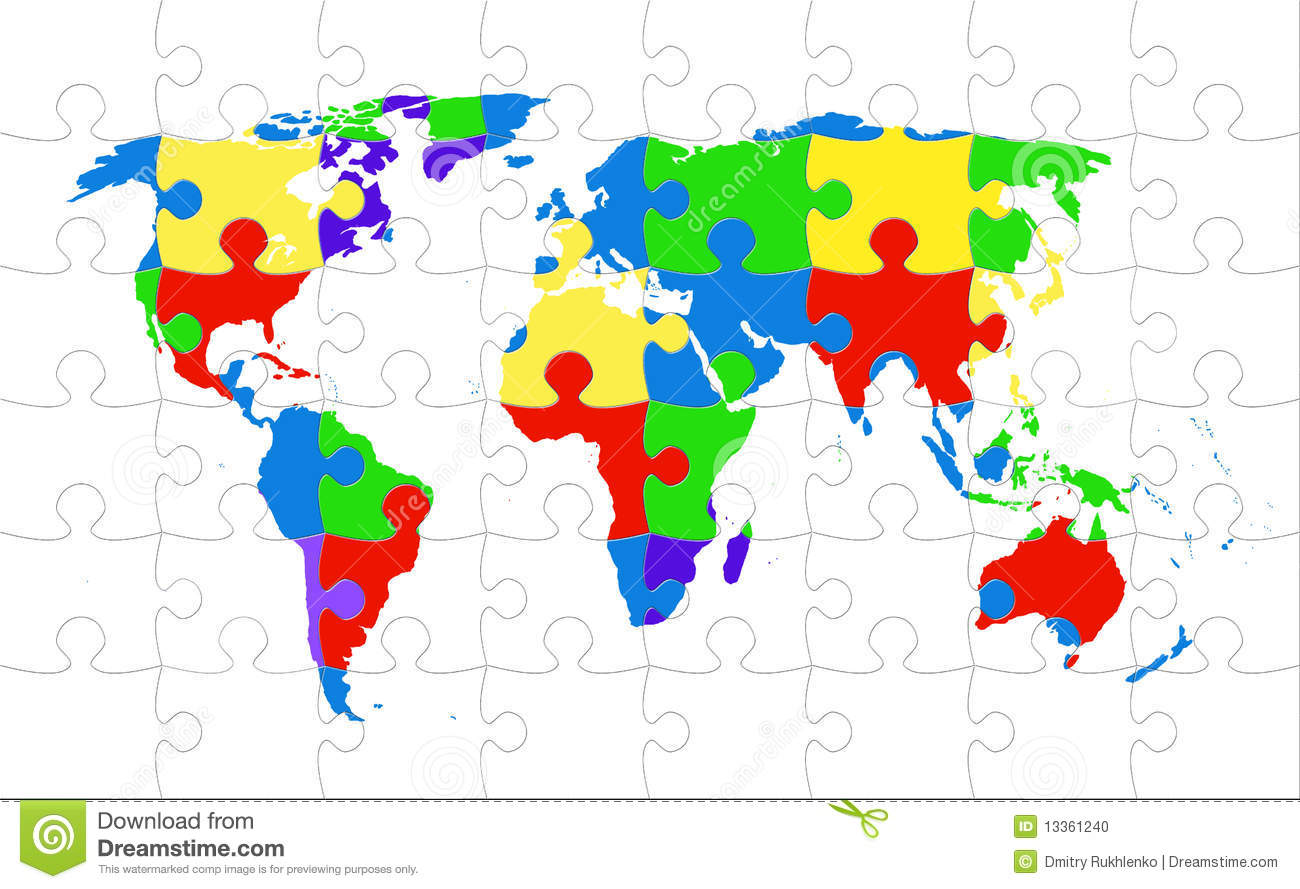 Map Of World Puzzle Pieces Image Image 5460061 – Map World Puzzle