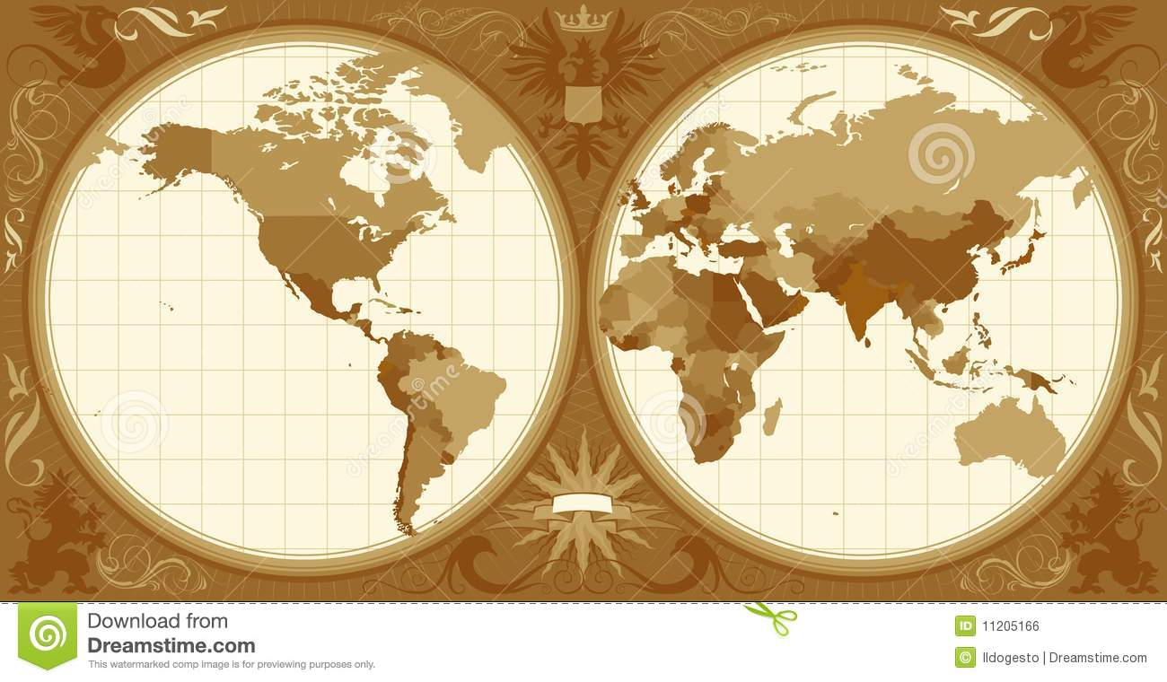 World map with retro styled hemispheres stock vector illustration world map with retro styled hemispheres gumiabroncs Image collections