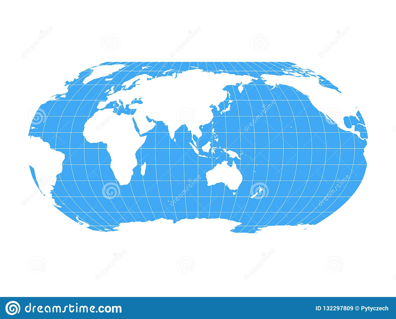 Australia Land Map.World Map In Robinson Projection With Meridians And Parallels Grid