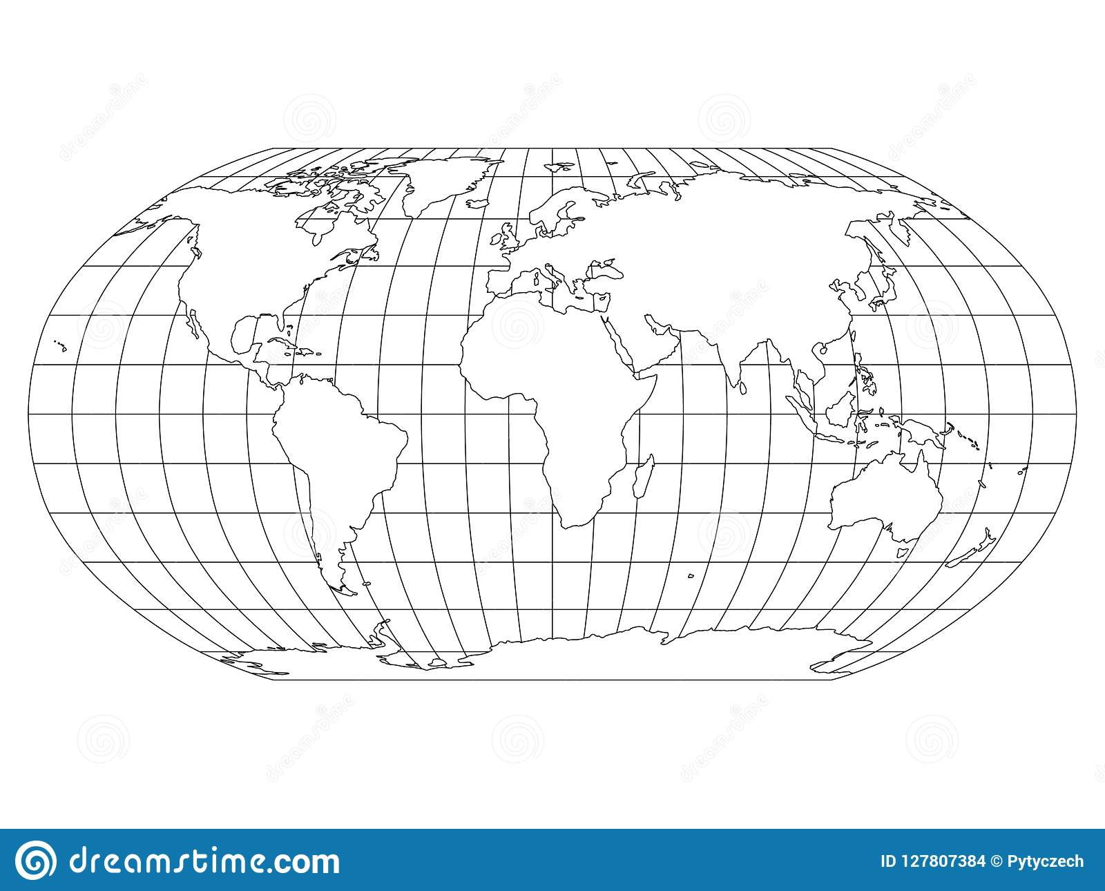World Map in Robinson Projection with Meridians and Parallels Grid ...