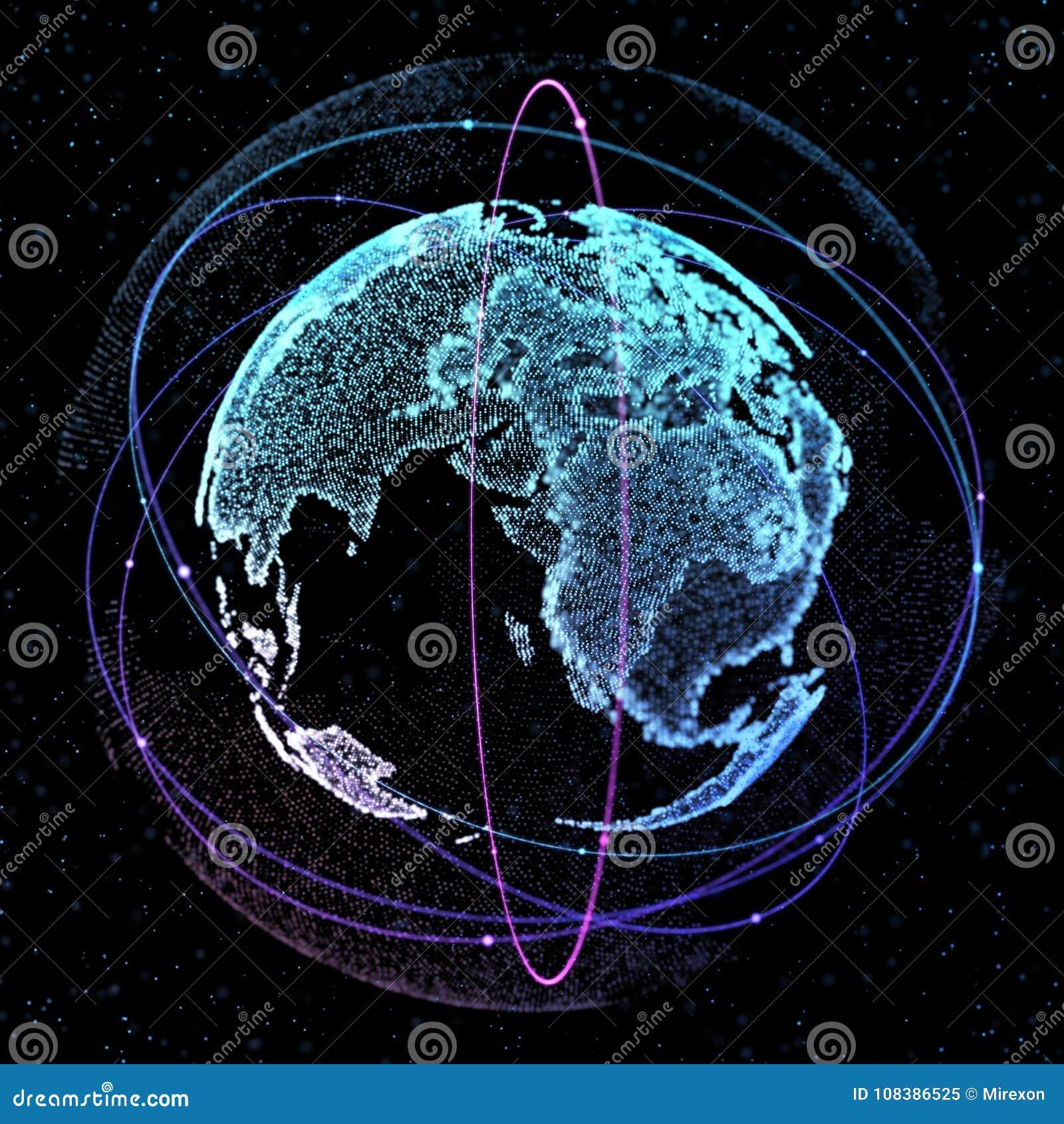 World Map Satellite Representing The Global Global Network
