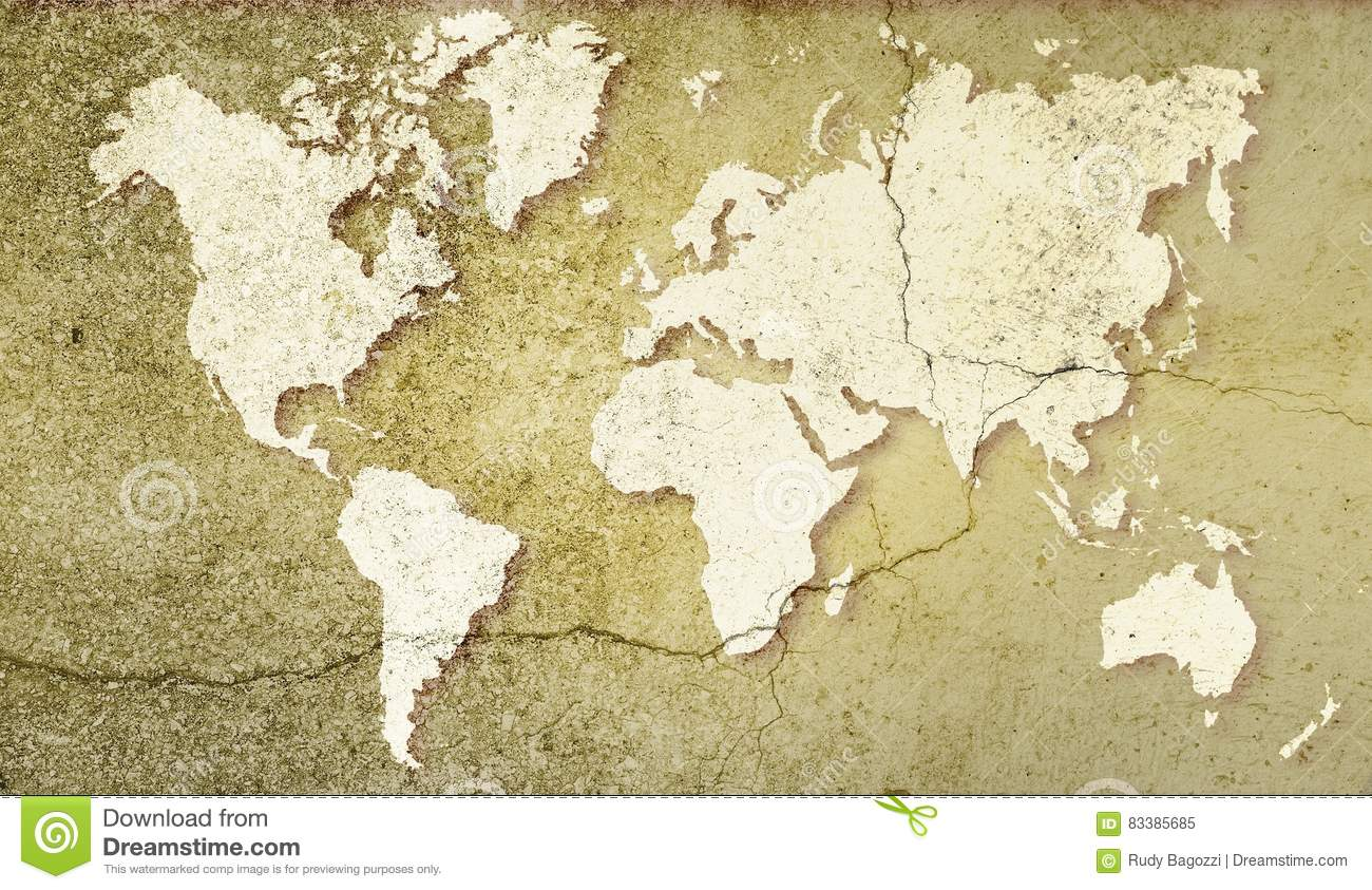 Download World Map On Sepia Cracked Background. Basic Image For Map  Courtesy NASA. Stock
