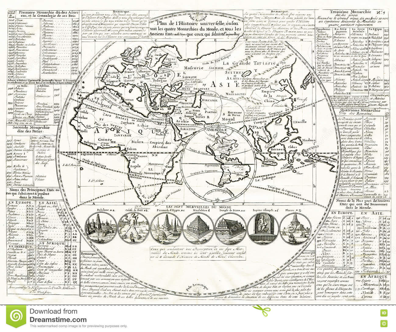 Antique world map stock photos royalty free stock images world map seven wonders of the ancient world 1707 image is taken from an gumiabroncs Images