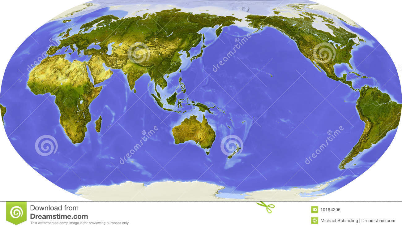 World Map, Shaded Relief, Centered On Japan Stock Illustration ...