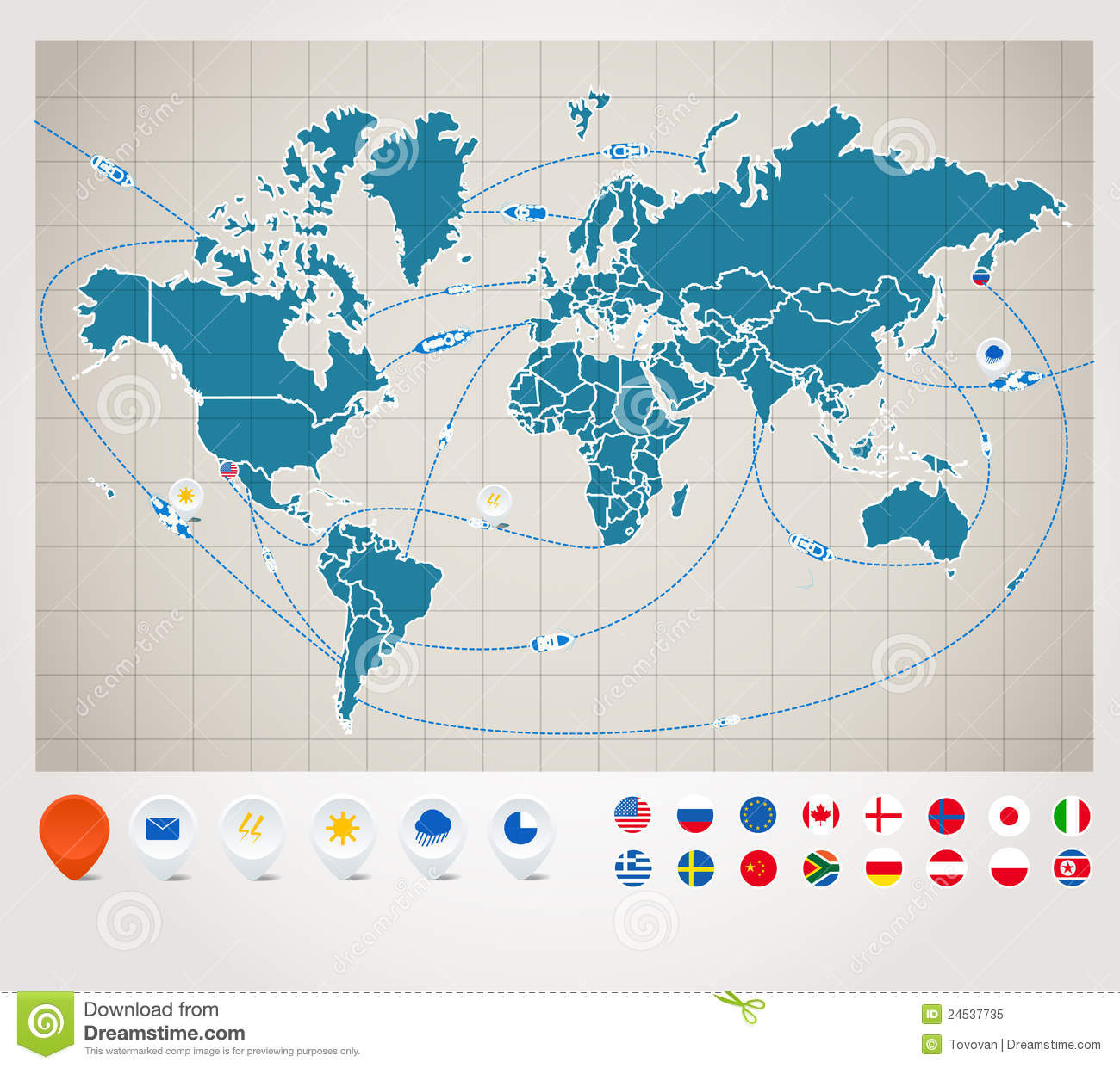 World map with ship tracking stock vector illustration of country world map with ship tracking gumiabroncs Choice Image