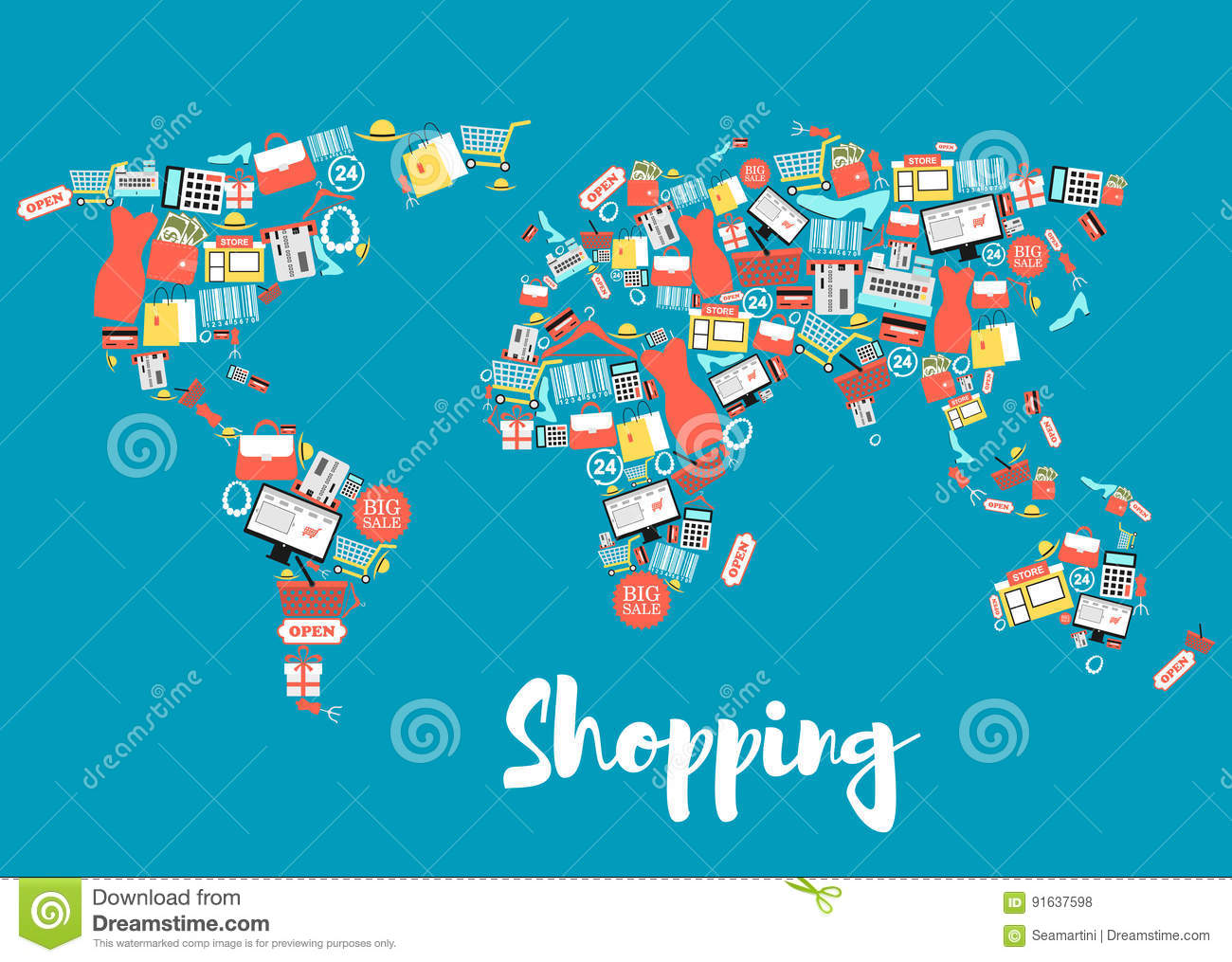 World Map Store.World Map With Shopping And Sale Icons Stock Vector Illustration