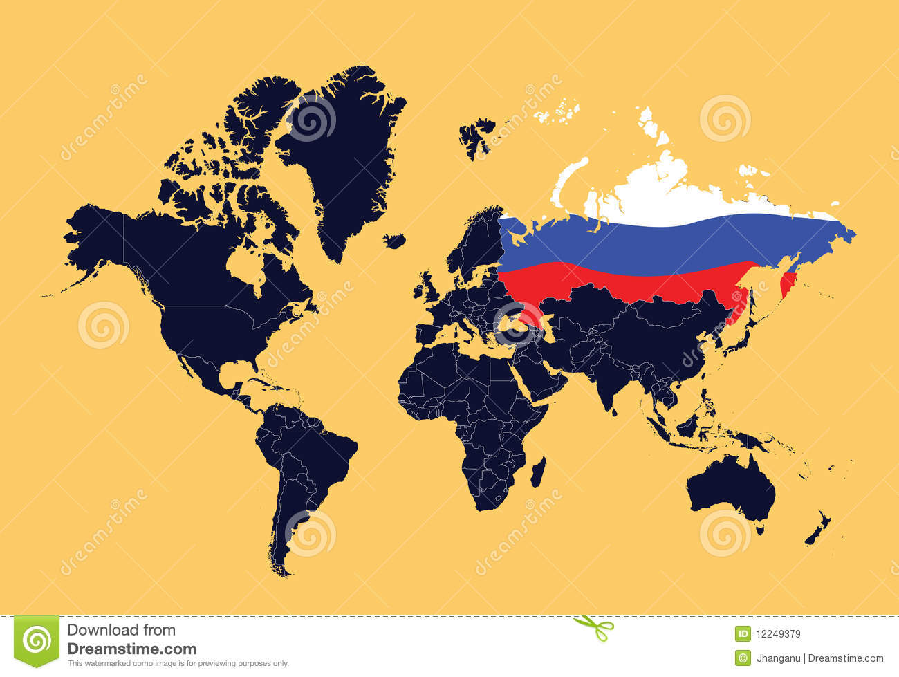 World Map Showing Russian Federation Stock Vector Illustration Of